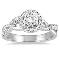 7/8 Carat White Diamond Halo Engagement Ring in 14K White Gold