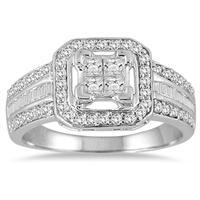 7/8 carat Princess Halo Engagement Ring in 10K White Gold
