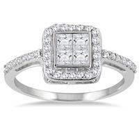 3/4 carat Princess Halo Engagement Ring in 10K White Gold
