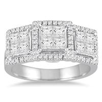1 1/2 Carat Princess Diamond Three Stone Ring in 14K White Gold