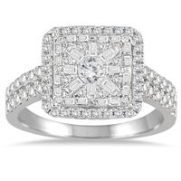 1 Carat TW Baguette and Round Diamond Ring 14K White Gold