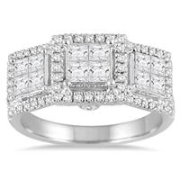 1 1/2 Carat Princess Diamond Three Stone Ring in 14K White Gold