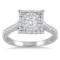 3/4 Carat Diamond Baguette and Round Diamond Ring 14K White Gold