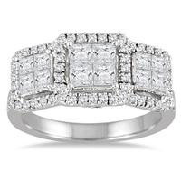 2 Carat Princess Diamond Three Stone Ring in 14K White Gold