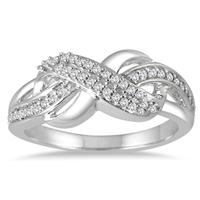 1/5 Carat Diamond Infinity Fashion Ring in .925 Sterling Silver