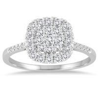1/3 Carat TW Diamond Cluster Ring in 14K White Gold