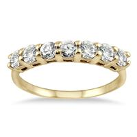 1.00 Carat Seven Stone Diamond Wedding Band in 14K Yellow Gold