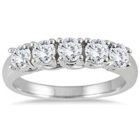 1.00 Carat Five Stone Diamond Wedding Band in 14K White Gold