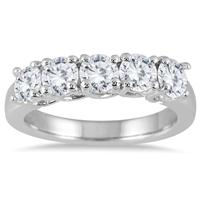 1 1/2 Carat Five Stone Diamond Wedding Band in 14K White Gold