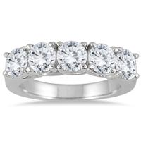 2 1/2 Carat Five Stone Diamond Wedding Band in 14K White Gold
