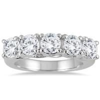 3 Carat Five Stone Diamond Wedding Band in 14K White Gold