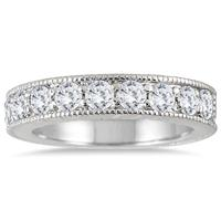 1 Carat Diamond Engraved Antique Ring in 10K White Gold