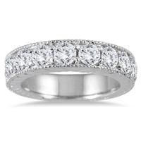 1 1/2 Carat Diamond Engraved Antique Ring in 10K White Gold