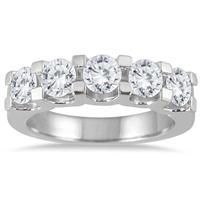 2.00 Carat Five Stone Diamond Wedding Band in 14K White Gold