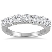 1 3/8 Carat Seven Stone Diamond Wedding Band in 14K White Gold