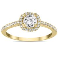 3/4 Carat Diamond Halo Engagement Ring in 14K Yellow Gold