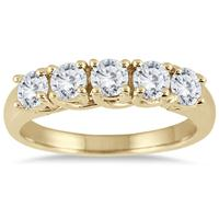 1.00 Carat Five Stone Diamond Wedding Band in 14K Yellow Gold