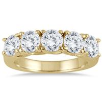 2 1/2 Carat Five Stone Diamond Wedding Band in 14K Yellow Gold
