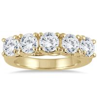 3 Carat Five Stone Diamond Wedding Band in 14K Yellow Gold