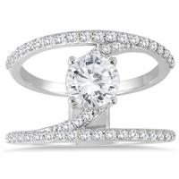 AGS Certified 1 1/2 Carat TW Open Diamond Ring in 14K White Gold
