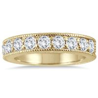 1.00 Carat Diamond Engraved Antique Ring in 10K Yellow Gold