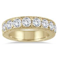 1 1/2 Carat Diamond Engraved Antique Ring in 10K Yellow Gold