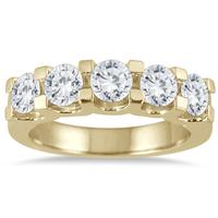 2.00 Carat Five Stone Diamond Wedding Band in 14K Yellow Gold