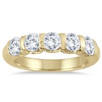 1 1/2 Carat Five Stone Diamond Wedding Band in 14K Yellow Gold