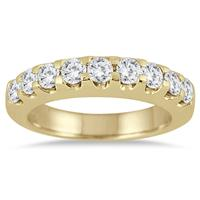 1.00 Carat Nine Stone Diamond Wedding Band in 10K Yellow Gold