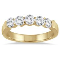 1 Carat Five Stone Diamond Wedding Band in 14K Yellow Gold