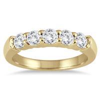 3/4 Carat Five Stone Diamond Wedding Band in 14K Yellow Gold