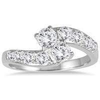 1 Carat Two Stone Diamond Ring in 10K White Gold