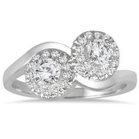 3/4 Carat Two Stone Halo Diamond Ring in 10K White Gold