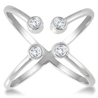 1/5 Carat Diamond Open X Ring in 14K White Gold