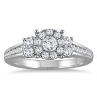 5/8 Carat TW Diamond Halo Engagement Ring in 10K White Gold