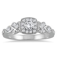 5/8 Carat Diamond Engagement Ring in 10K White Gold