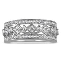 1/2 Carat Diamond Byzintine Inspired Ring in 10K White Gold