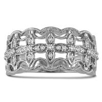 1/4 Carat Diamond Fashion Ring in 10K White Gold