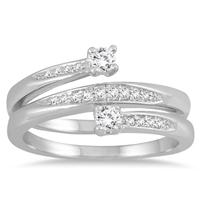 1/4 Carat TW Two Stone Diamond Wrap Ring in 10K White Gold