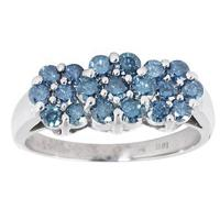 1.00CTW Blue Diamond Flower Ring 14k White Gold