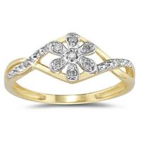 Diamond Flower Twist Ring in 10 Kt Yellow Gold