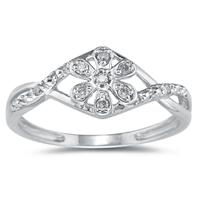 Diamond Flower Twist Ring in 10K White Gold