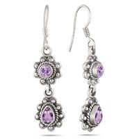 2.70 Carat Antique Amethyst Earrings in .925 Sterling Silver