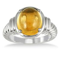 4.15 Carat All Natural Oval Citrine Ring in .925 Sterling Silver