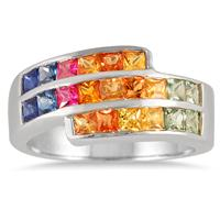 All Natural Princess Cut Rainbow Sapphire Ring in Sterling Silver