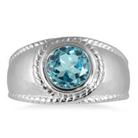 1.50 Carat Bezel Set Blue Topaz Ring in .925 Sterling Silver
