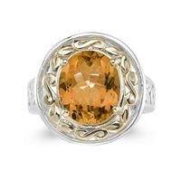 4.45ct.Oval Shape Citrine Ring in Yellow Gold and Silver