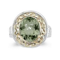 4.45ct.Oval Shape Green Amethyst Ring in Yellow Gold and Silver