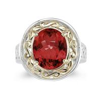 4.45ct.Oval Shape Garnet Ring in Yellow Gold and Silver