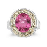 4.45ct.Oval Shape Pink Topaz Ring in Yellow Gold and Silver